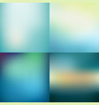 set abstract colorful blue blurred backgrounds vector image