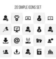 set of 20 editable global icons includes symbols vector image vector image