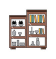 shelves unit with decorative objects vector image