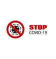 stop covid-19 banner coronavirus caution vector image