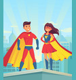 super heroes comic couple superhero cartoon man vector image vector image