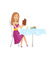 the woman in the restaurant for dinner flat and vector image