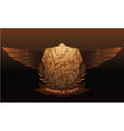 vintage emblem with shield and wings vector image vector image