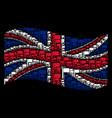 waving uk flag mosaic of flag icons vector image vector image