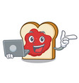 with laptop bread with jam character cartoon vector image