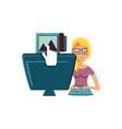 woman sending picture with desktop computer vector image vector image