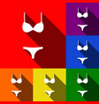 women wimsuit sign set of icons with flat vector image