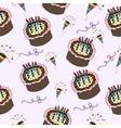 seamless pattern with cake celebration dessert vector image