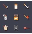 Smoking icons set vector image