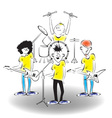 a band on stage vector image