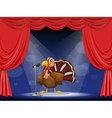 A turkey in the center of a stage vector image vector image