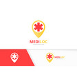 ambulance and map pointer logo combination vector image vector image
