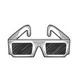 anaglyph glasses sketch engraving vector image