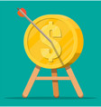 arrow in coin target on tripod vector image vector image