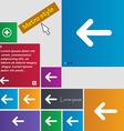 Arrow left Way out icon sign Metro style buttons vector image