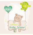baby bear with balloons - shower card vector image vector image