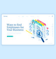 banner ways to find employee to business vector image vector image