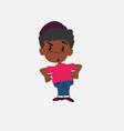black boy in jeans runs alarmed vector image
