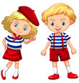 boy and girl in blue striped shirts vector image vector image