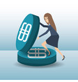 business woman working hard to earn money vector image