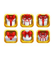 cartoon gift boxes with red bows in golden vector image vector image