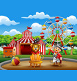 cartoon ringmaster and a lion in the circus a vector image vector image