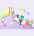 cat pet and owner woman on sofa at home isometric vector image vector image
