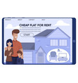 cheap rent flat for low-wage family landing page vector image vector image