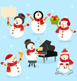 collection cute snowman characters vector image vector image