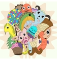 cute doodle monster mythical creatures cartoon vector image vector image