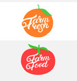 farm fresh and food hand written lettering vector image vector image