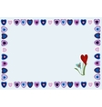 Frame of hearts on a blue background vector image vector image