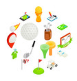 golf isometric 3d icon set vector image vector image