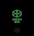 green box logo web online shop vector image vector image