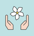 hand and jasmine flower filled outline icon vector image vector image