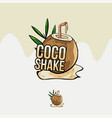 hand drawn coconut shake juice logo template vector image