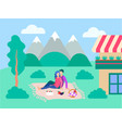 he concept of a happy family and outdoor vector image vector image