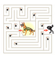 help the character to find a way out of the maze vector image