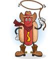hot dog cowboy cartoon character vector image vector image
