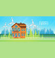 house building with wind turbine eco real estate vector image vector image