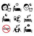 Insomnia people having trouble with sleeping icon vector image vector image
