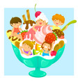 kids in ice cream vector image vector image