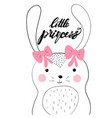 little princess card with cute bunny vector image vector image