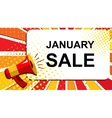Megaphone with JANUARY SALE announcement Flat vector image vector image