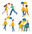 men and women crowd flat icons romantic couples vector image