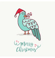merry christmas card cute santa claus bird cartoon vector image vector image
