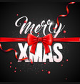 merry christmas with red bow ribbon vector image