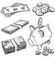 Money and coins doodles vector image vector image
