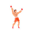 muscular boxer raising his fists up male athlete vector image