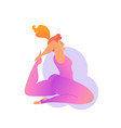 plus size curvy lady doing yoga class vector image